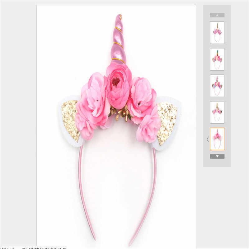 Jednorożec róg dziewczyny kwiat opaska do włosów z pałąkiem na głowę przebranie na przyjęcie słodki moda nowy kostium magiczne Nakrycia głowy sukienka głowy