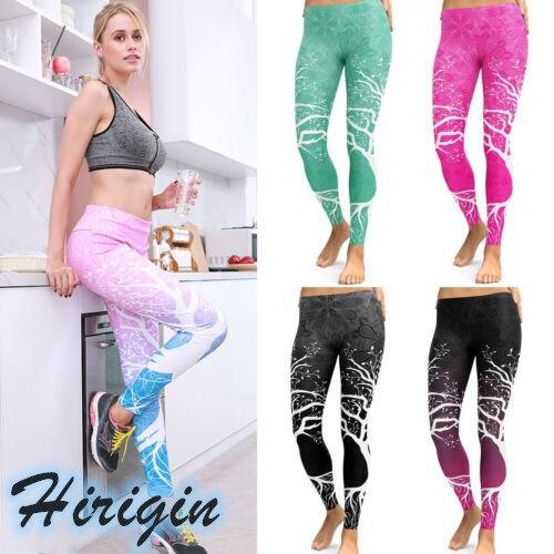 Women Casual Leggings Women's Fitness Workout Casual Stretch Leggings Elastic High Waist Trees Print Legging