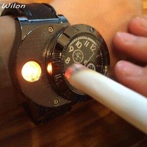 1pcs Lighter Watch Men's Military USB Charging F665 Hot sports Casual Quartz Wristwatches Windproof Flameless Cigarette Lighter