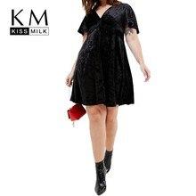Kissmilk Европа и Соединенные Штаты простой Commuter большой размер грудь завязывается v-образным вырезом сплошной цвет легко сочетать Платье женское