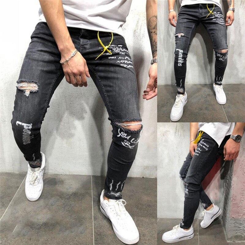 Fashion Men's Ripped Skinny Biker   Jeans   Knee Destroyed Frayed Slim Fit Letters Printed Denim Pant Trousers Trendy Men Streetwear