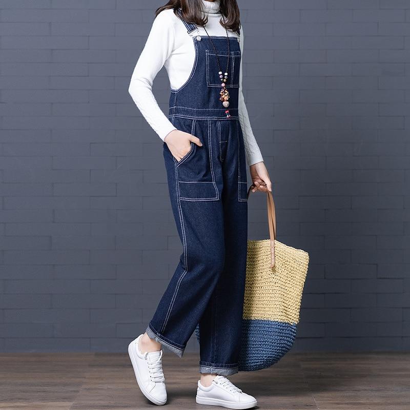 Women Plus Size Jeans Vintage Pockets Zip Side Design High Waist Loose Straight Jeans Female Casual Denim Jumpsuits Long Rompers