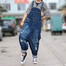Women Casual  Ripped Jean Jumpsuit Hole Loose Denim Jumpsuit Boyfriend Wide Leg Overalls Rompers Harem Pants rolling hem ripped design denim suspender jumpsuit