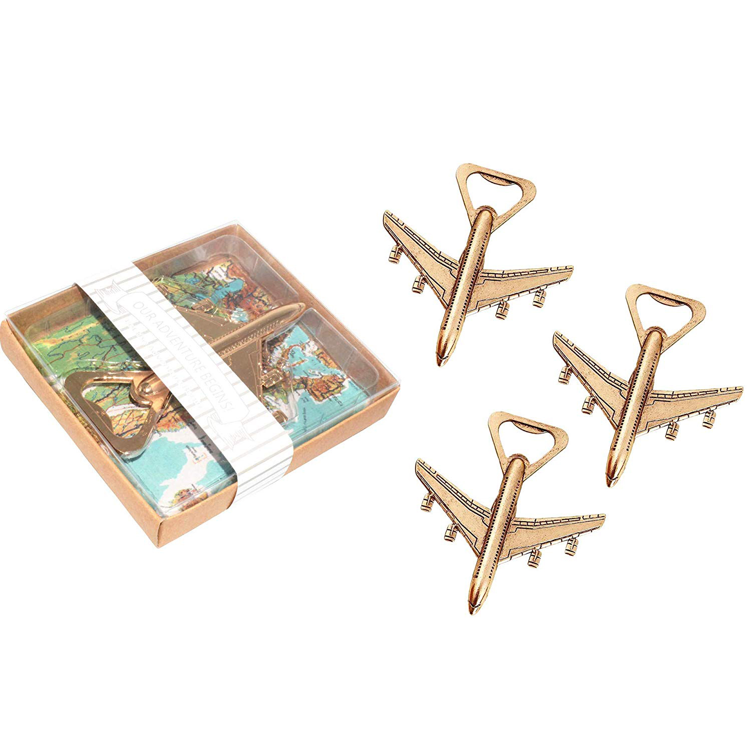 Pack of 12 Airplane Bottle Opener Gift Box Air Plane Travel Beer Bottle Opener Party Favor Wedding Birthday Decorations image
