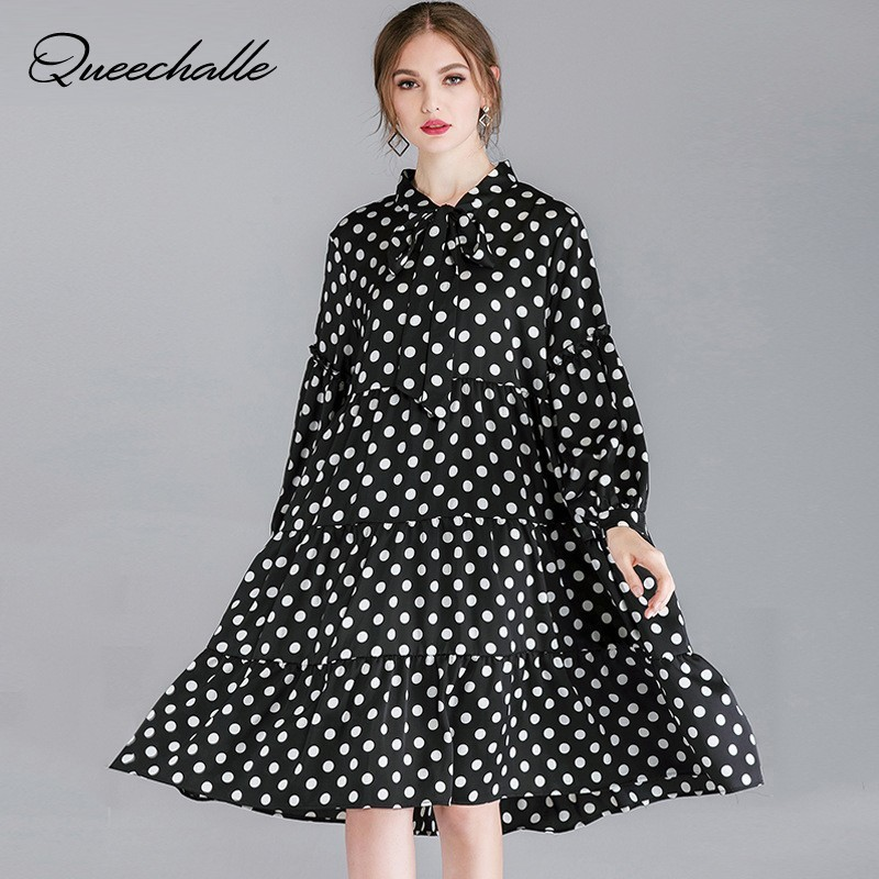 40ddf26386 XL - 4XL Plus Size Chiffon Dress Women 2019 Spring Bow Ties Collar Loose  A-. US  29.94. Queechalle Summer gray white black ...