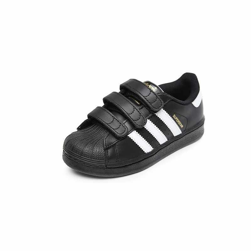 Оригинальная детская обувь для скейтбординга с изображением суперзвезды Адидас, дышащий светильник, детские спортивные уличные кроссовки # B26071