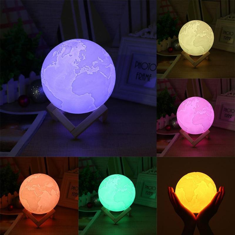 USB Rechargeable impression 3D LED lampe de terre 7 couleurs nuit changeante lumière (18 cm)