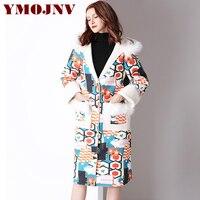YMOJNV Autumn Trench Coat For Women Fur Collar Hooded Plus velvet Warm Windbreaker Female Geometry Printed Suede Coats Overcoat