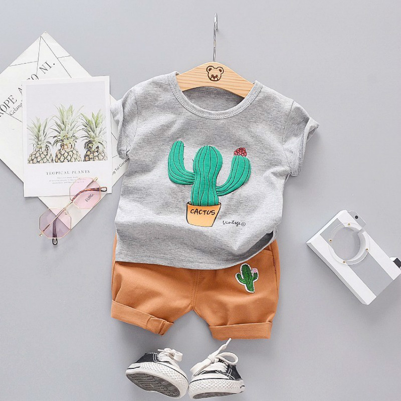 Fashion Kids Baby Boy Summer Cotton T-shirt Short Pants Outfits Clothes FJJ