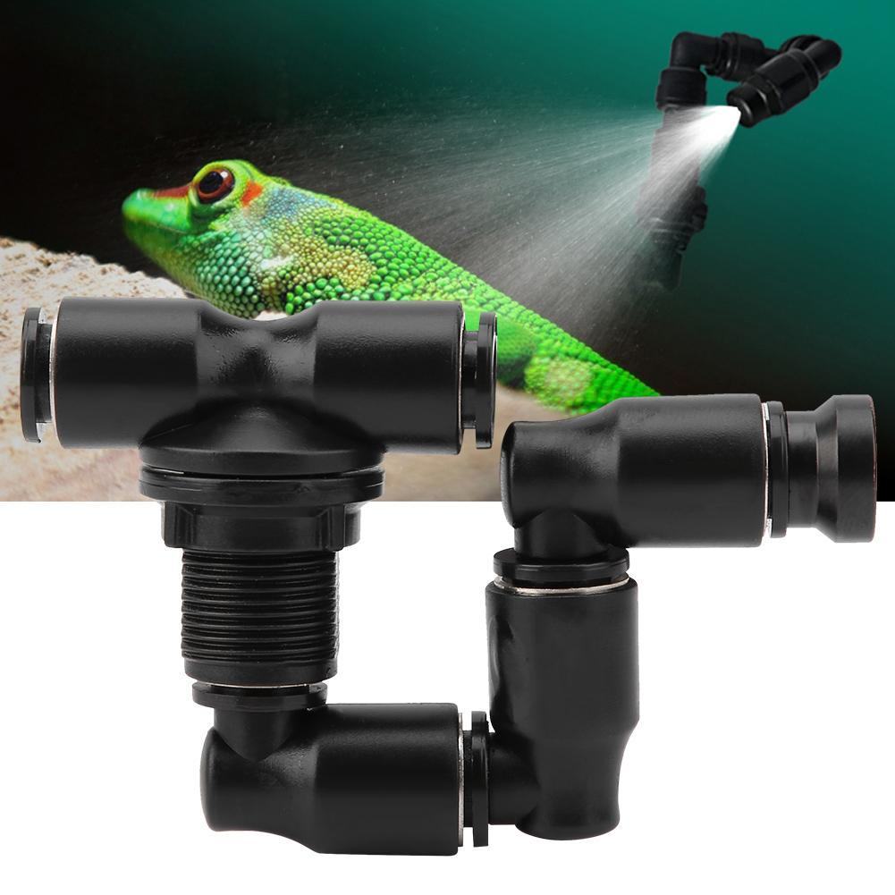 Reptiles Fogger Mist Sprinkler Adjustable For Rainforest Tank Pet Cooling System Black New