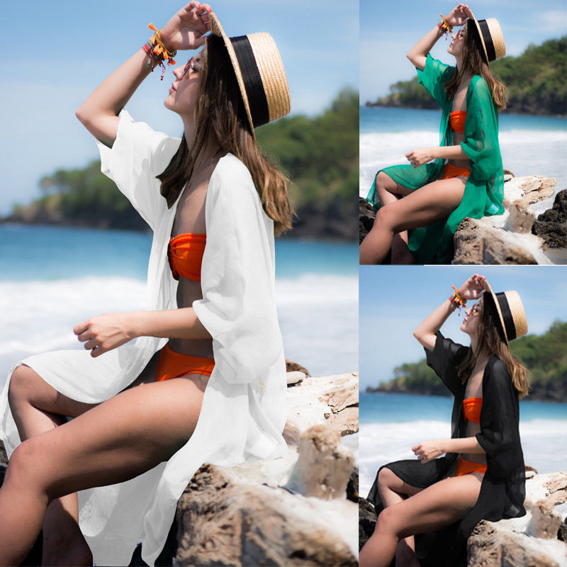Hirigin Beach Dress 2019 Summer Pure Color Long Sleeve Women Bikini Cover Up Beach Long Dress Kaftan Beachwear Swimwear