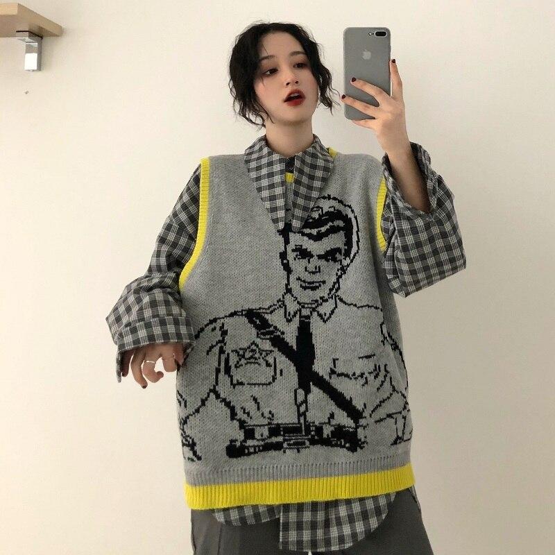 Women s Clothing Korean fashion vintage plaid Turn-down long sleeve  Blouses+casual knitting vest 3bffd26bf