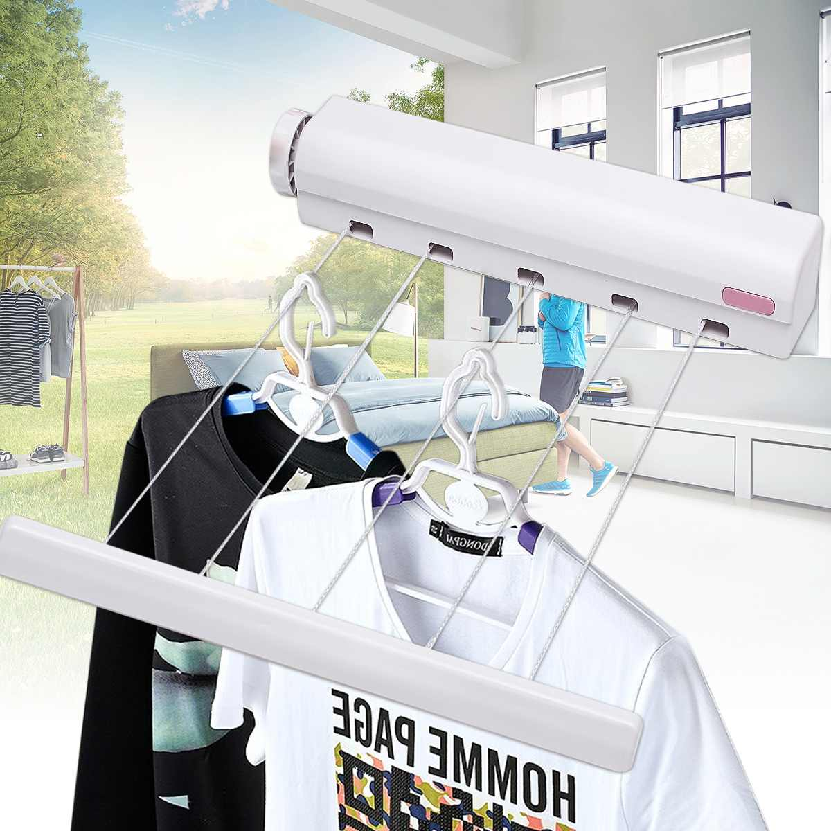 5 Line Retractable Clothes Airer Washing Line Laundry Wall Mount Dryer Hanger Clothesline Outdoor Washing Line Drying Rack 3.7M