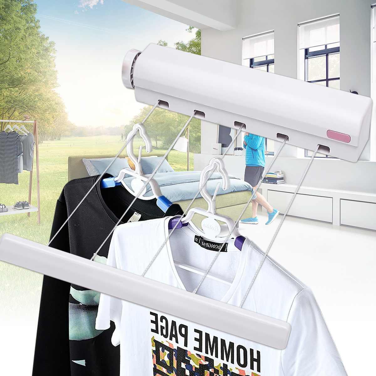 5 línea retráctil tendedero línea de lavado lavandería de montaje en pared secador de tendedero de ropa al aire libre lavado línea de secado estante de 3,7 M