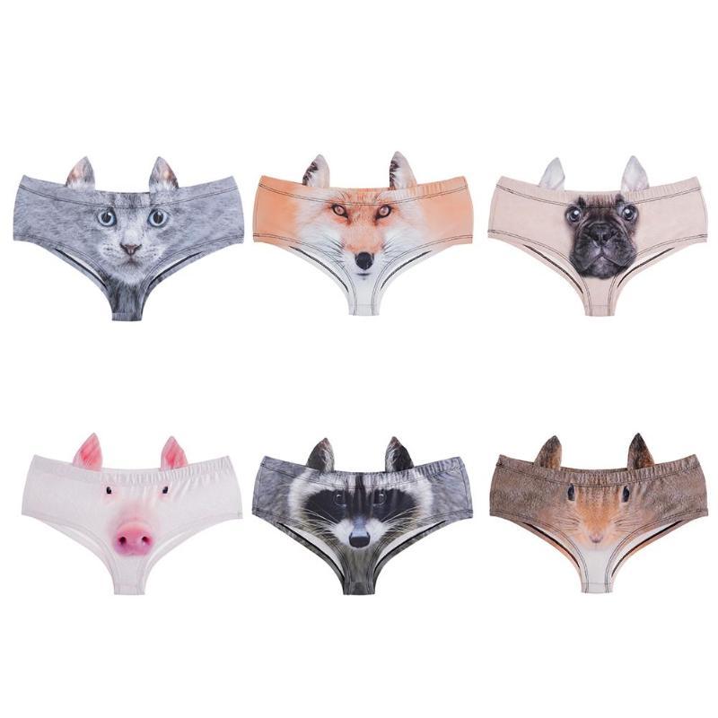 2018 Womens' 3D Animal Print Cute Swimming Underwear Briefs with Cat Fox Pig Dog Printing Underwear Bikini Bottom Swimwear