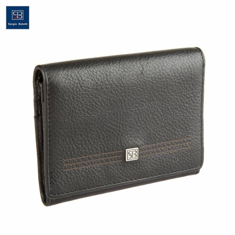 Business Card Holder Sergio Belotti 1295 West black short genuine leather cowhide men wallet business card coin money male purse card holder