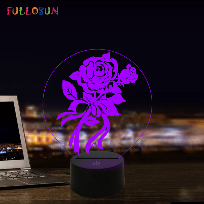 Rose Flower 3D Night Light 7 Colors LED Illusion Lamp Acrylic Lights For Valentine's Day Novelty Gift Lights