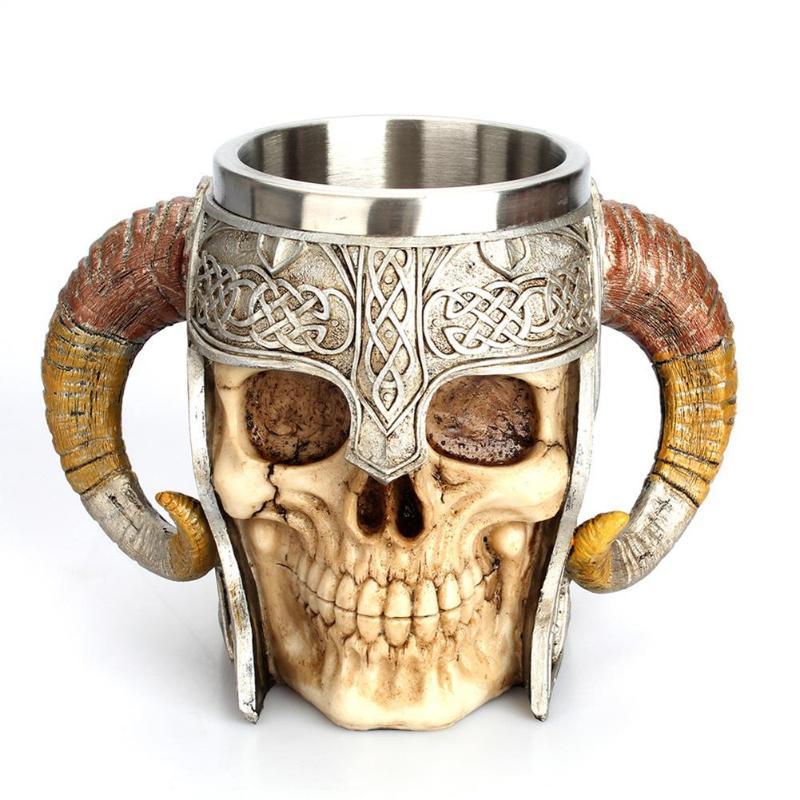 Stainless Steel Mug Skull Viking Beer Coffee Drinking Cup Christmas Mug Ram Horned Pit Lord Warrior Halloween Bar Drinkware Gift