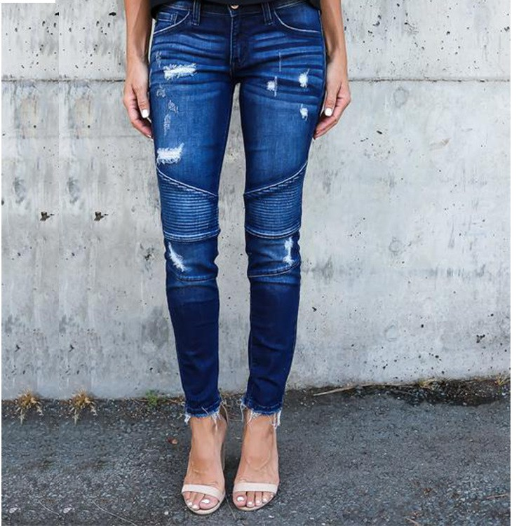 Women Denim Pencil Pants Slim Pleated Ripped Hole Stretch Skinny Pants Casual Dancer Girl Long Jeans