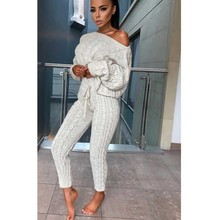 MUXU sweater fashion 2 piece set women long sleeve suit two cropped top and pants streetwear womens clothing
