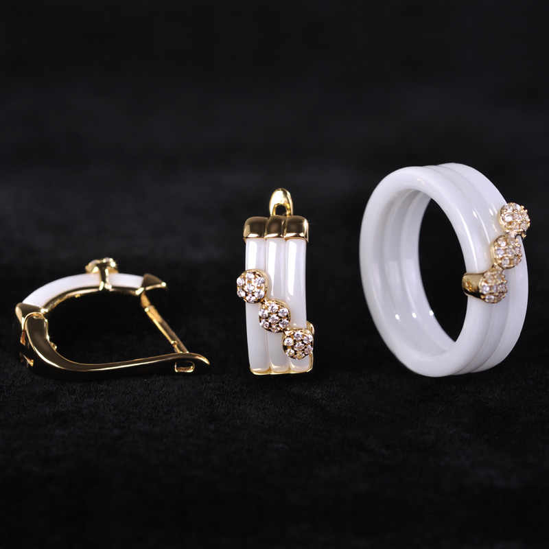 Blucome Luxury Copper Ceramic Earrings Ring Set Zircon Princess Stud Earrings Three Flower Rings For Wedding Women With Gift Box