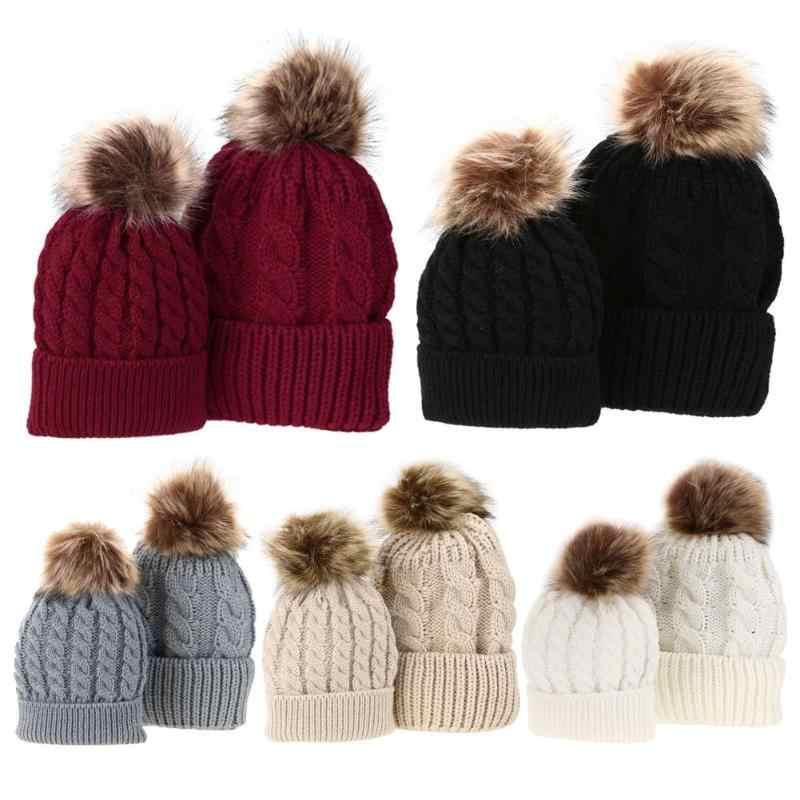 1 pieza de sombreros para bebés o mamás invierno cálidos de piel de mapache gorras de lana para mamás niños mujeres sombreros de punto de algodón para padres sombreros de niños