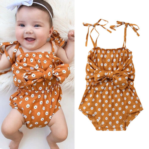Casual Newborn Baby Girl Sleeveless Cotton Summer Bowknot  Floral  Bodysuit Jumpsuit Outfits SunsuitCasual Newborn Baby Girl Sleeveless Cotton Summer Bowknot  Floral  Bodysuit Jumpsuit Outfits Sunsuit