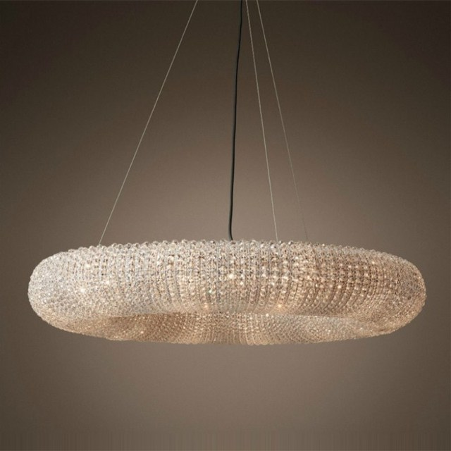 large post-modern crystal pendant lamps Led ring light for living room dining room villa hotel haning pendant lights LED lustres