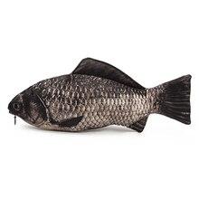Настоящий рыбий пенал на молнии сумка забавная пресноводная рыба ручка и макияж мешок