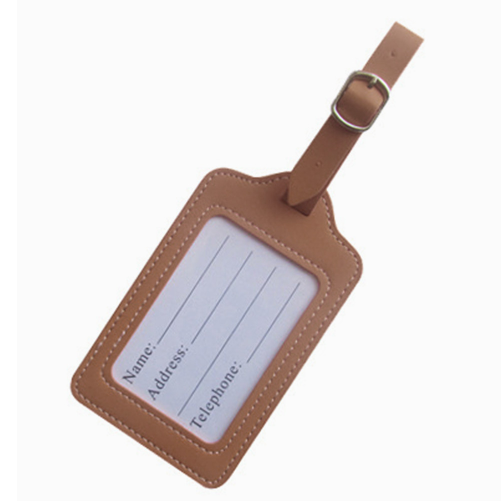 Luggage Tag ID Travel Letter Identifier Checked Boarding Portable Label PU Leather Baggage Fashion Address Straps Holder