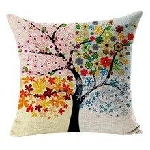 Наволочки с рисунком в виде цветов Дерева, льняная винтажная наволочка, четыре сезона, дерево