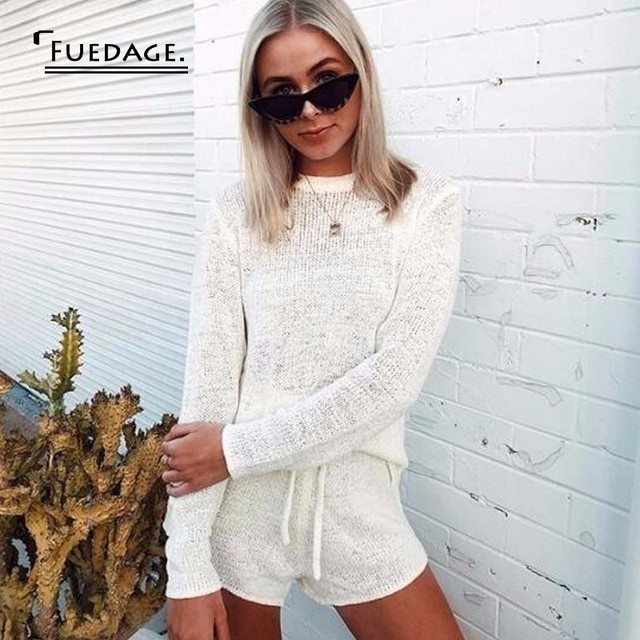 69cf66d00ac Fuedage Knitting White Sweater Sexy 2 Piece Set Women Solid Bandage Long  Sleeve Top And Short Women Set Two Piece Set Outfits