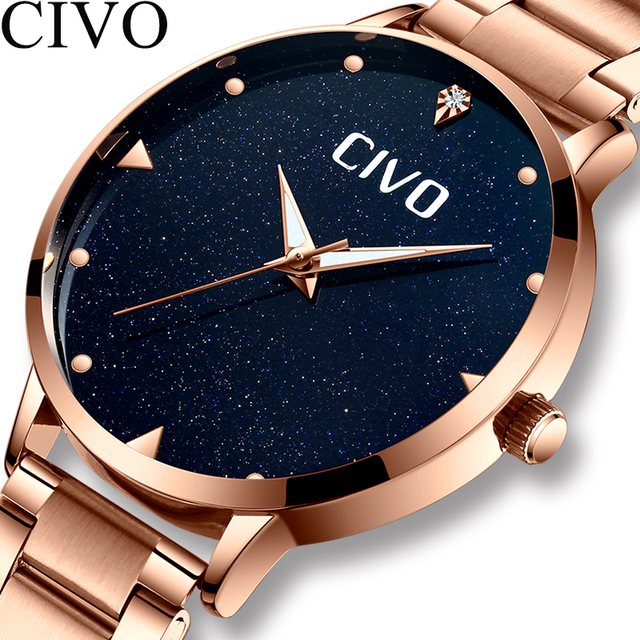 CIVO Luxury Gold Ladies Watches Women Watches Clock Stainless Steel Women'S Bracelet Watches Relogio Feminino Montre Femme 6