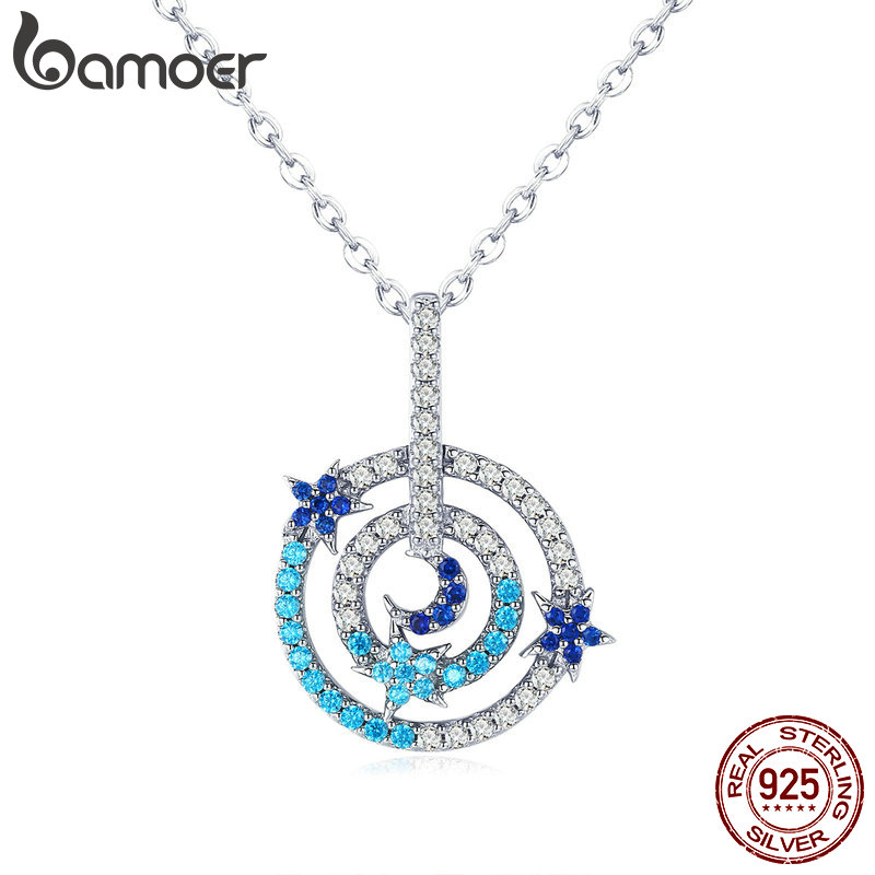 BAMOER High Quality 925 Sterling Silver Planet Visitor & Round Circle Shape Chain Pendant Necklaces Women Luxury Jewelry BSN041