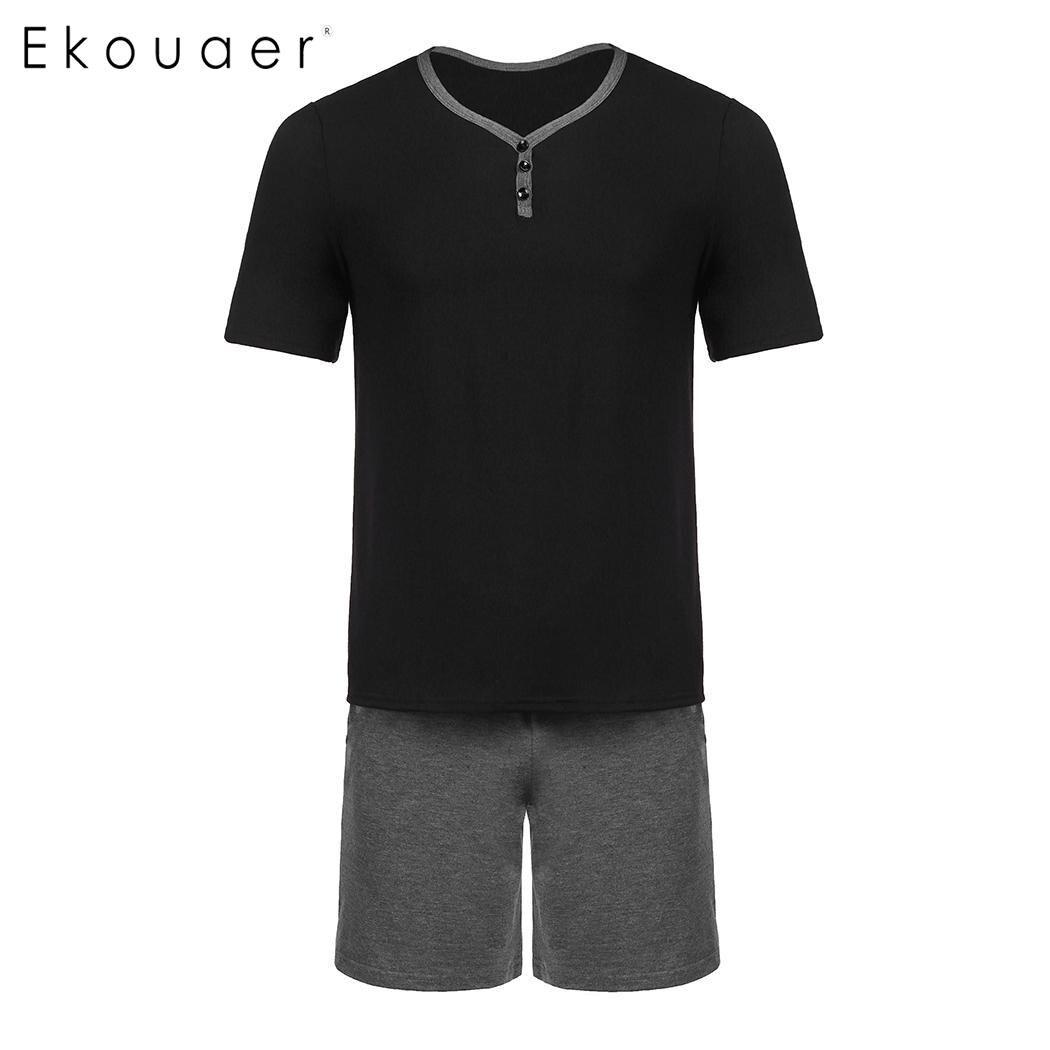 Ekouaer Men Summer Sleepwear   Pajamas     Sets   V-Neck Short Sleeve Loose T-Shirt Middle Waist Shorts   Pajamas   Nightwear Lounge Clothes