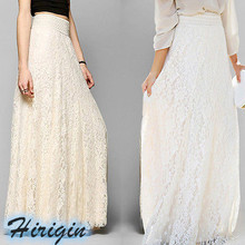 Summer Skirts Women Double Lace Layer Chiffon Pleated Long Maxi Skirt Hollow Out Elastic Waist Casual