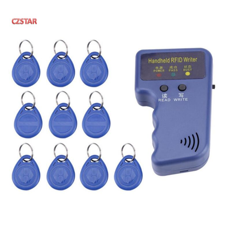 Handheld 125KHz EM4100 RFID Copier Writer Duplicator Programmer Reader With T5577 EM4305 Rewritable ID Keyfobs Tags Card