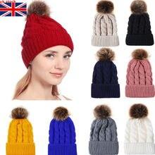 6b7ffa4312169 Women Winter Beanie Hat Knitted CRYSTAL Ladies Fashion Large Pom Gifts  uk(China)