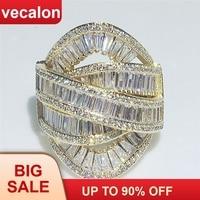 Vecalon большой через кольцо желтое золото Заполненные 925 серебро T форма кубического циркония вечерние обручальное кольца для женщин украшени