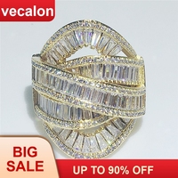 Vecalon Big Across Ring Yellow Gold Filled 925 silver T shape Cubic Zirconia Party Wedding band rings for women Finger Jewelry