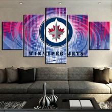 5 Piece Canvas Art Ice Hockey Sport Poster Logo Paintings on Wall for Home Decorations Decor Unique Gift