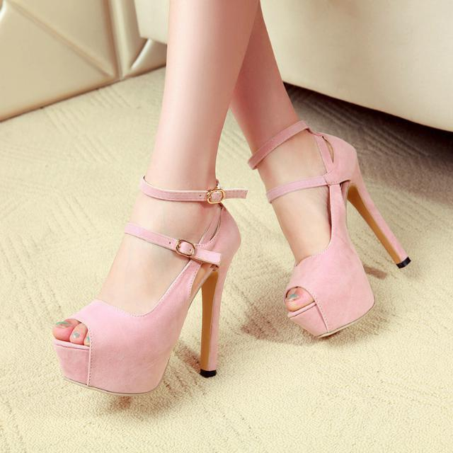 Fashion 2019 Peep Toe Buckle Platform Thin Heeled Sandals in Sexy Super High heel narrow Band Shoes with Solid ColorFashion 2019 Peep Toe Buckle Platform Thin Heeled Sandals in Sexy Super High heel narrow Band Shoes with Solid Color