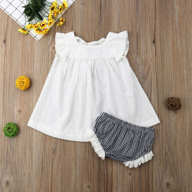 Newborn Baby Girls Summer Clothes Princess Dress+PP Pants Shorts 2PCs Outfit Set