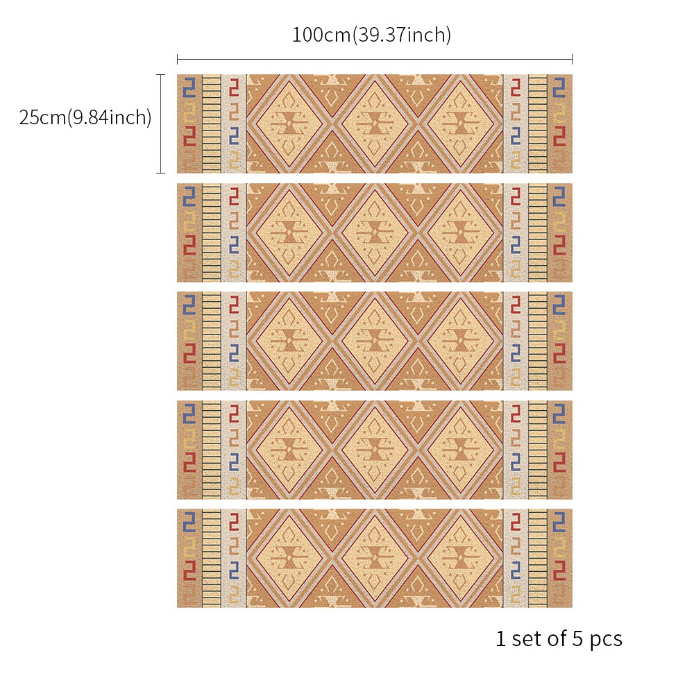 Hot Sale Tile Stickers 4 Pc Set Arabian Style Free Glue Stair Stickers Tiles Stickers Bathroom & Kitchen Tile Decals Easy To A