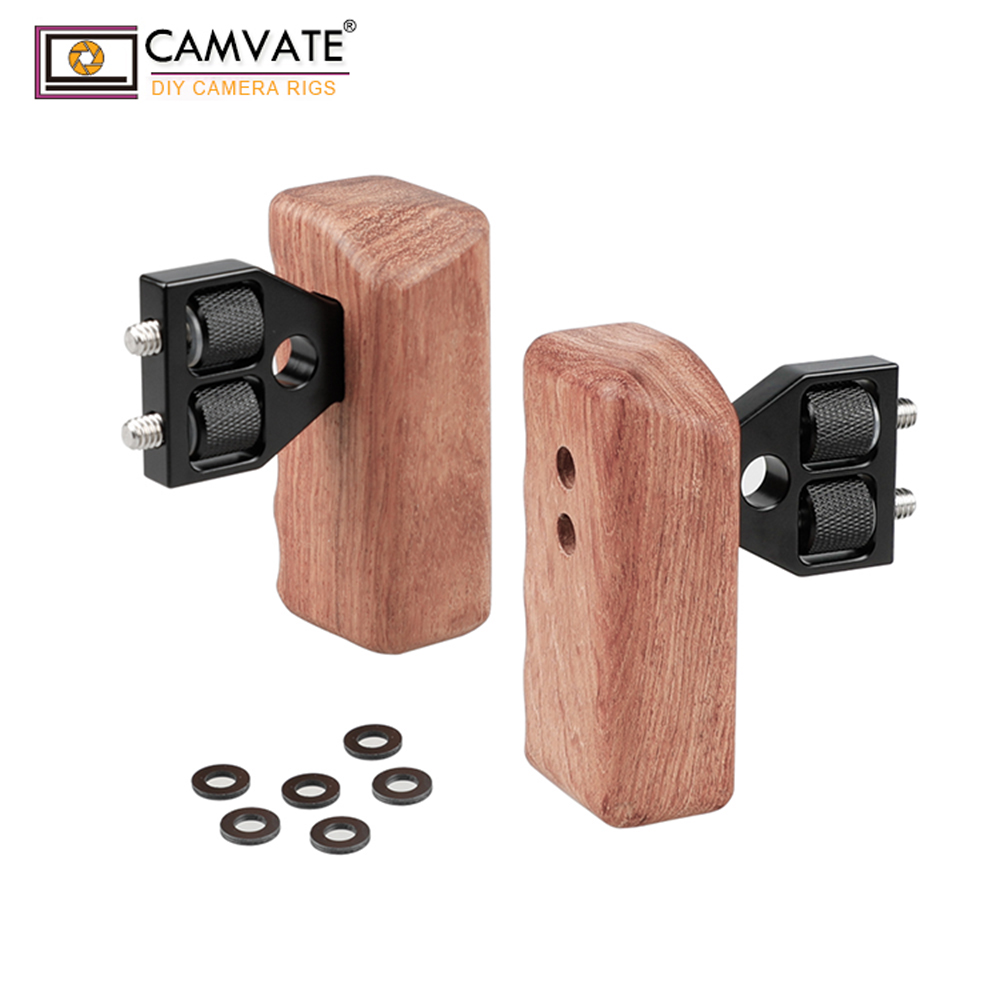 CAMVATE DSLR Wooden Dual Handle Grip With Connector For DV Video Camera Cage Steadycam Stabilizer Accessories