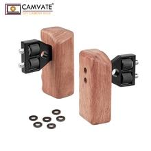 Camvate dslr dv 비디오 카메라 케이지 용 커넥터가있는 나무 듀얼 핸들 그립 steadycam stabilizer accessories c1346