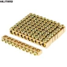 10 pcs 10   Hole การกระจายไฟฟ้าลวดสกรูทองเหลือง Ground Neutral Bar HOT