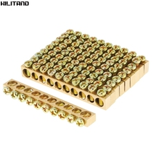 10pcs 10 Hole Electrical Distribution Wire Screw Terminal Brass Ground Neutral Bar HOT