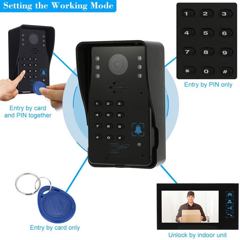 Clé de presse filaire 7 pouces vidéo porte téléphone interphone sonnette système Kit Vision nocturne 1 Rfid clavier Code Ir caméra + 1 moniteur - 2