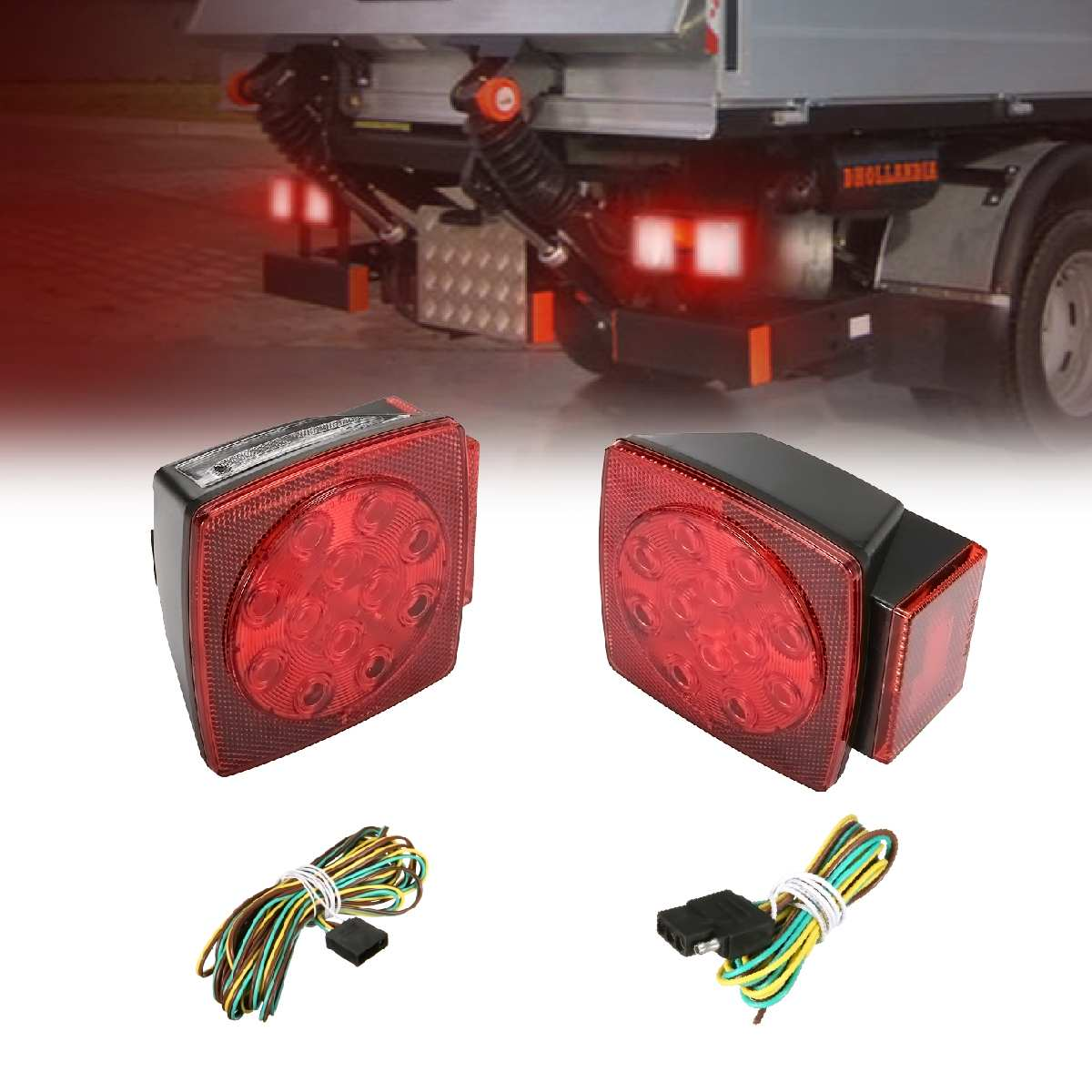 1pair New Truck Trailer Boat Tail Light For Suv Led